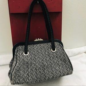 Ann Taylor tweed leather herringbone print purse